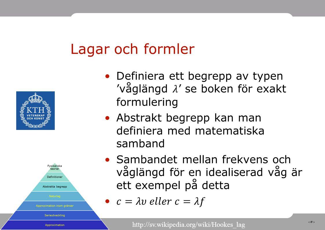 14 Lagar och formler http://sv.wikipedia.org/wiki/Hookes_lag