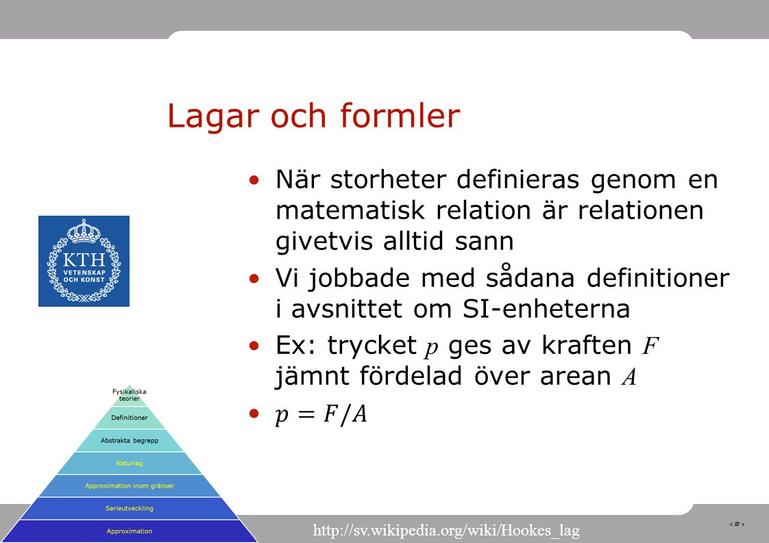 15 Lagar och formler http://sv.wikipedia.org/wiki/Hookes_lag