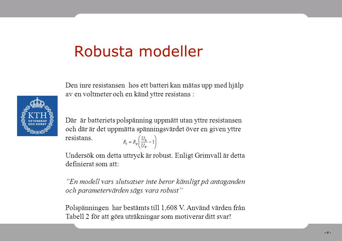 21 Robusta modeller Den inre resistansen hos ett batteri kan mätas upp med hjälp av en voltmeter och en känd yttre resistans : Där är batteriets polsp