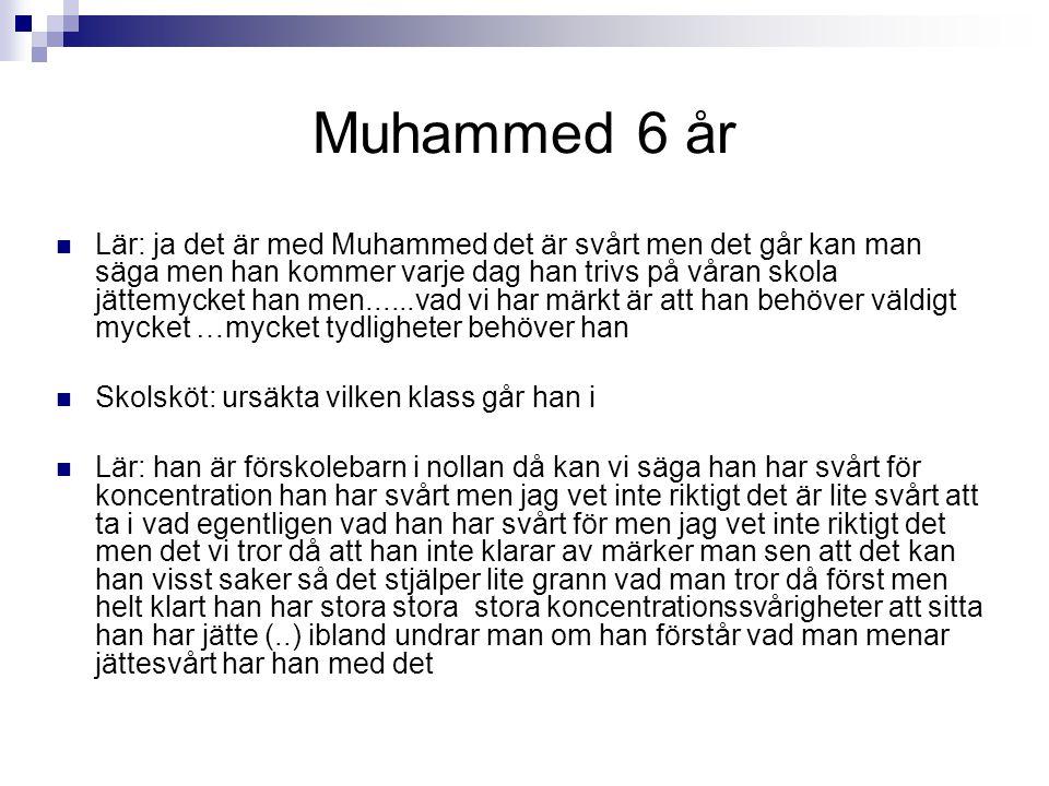 Muhammed 6 år Lär: ja det är med Muhammed det är svårt men det går kan man säga men han kommer varje dag han trivs på våran skola jättemycket han men.