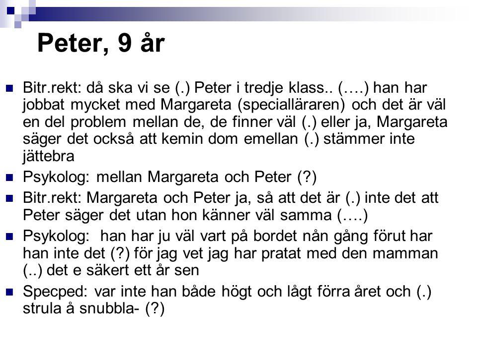 Peter, 9 år Bitr.rekt: då ska vi se (.) Peter i tredje klass.. (….) han har jobbat mycket med Margareta (specialläraren) och det är väl en del problem