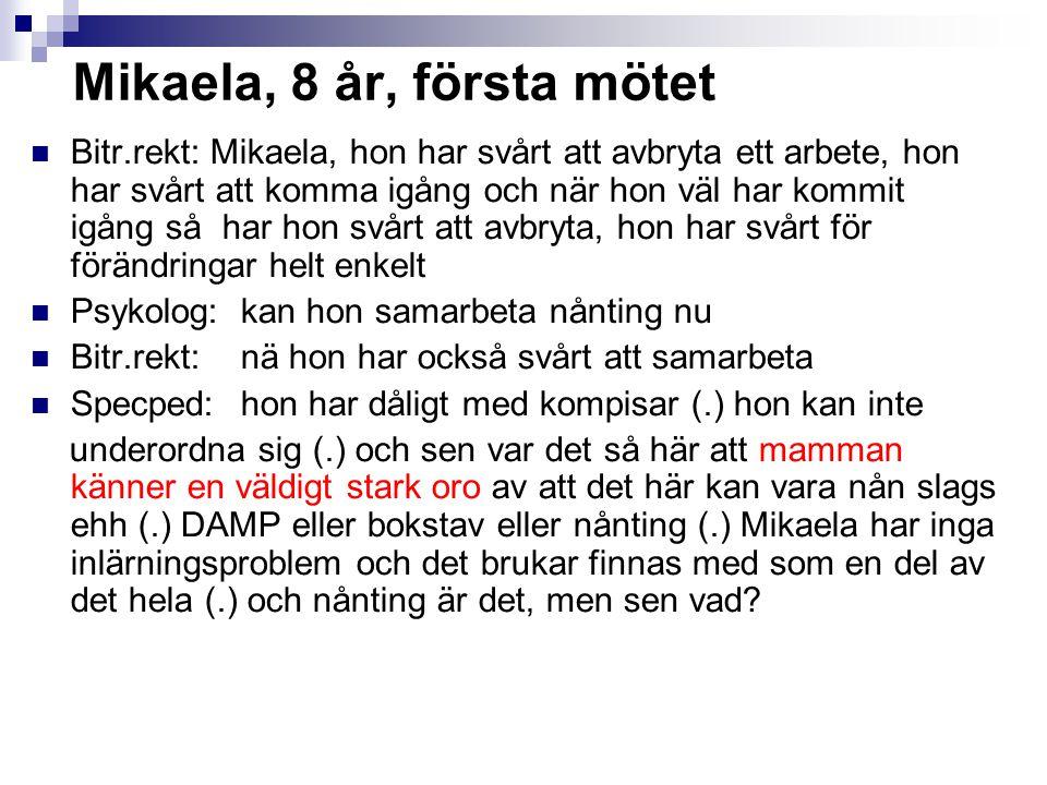 Mikaela, 8 år, första mötet Bitr.rekt: Mikaela, hon har svårt att avbryta ett arbete, hon har svårt att komma igång och när hon väl har kommit igång s