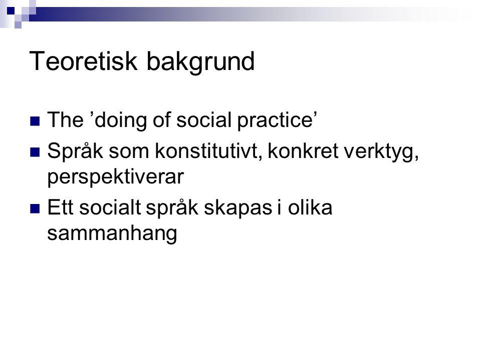 Teoretisk bakgrund The 'doing of social practice' Språk som konstitutivt, konkret verktyg, perspektiverar Ett socialt språk skapas i olika sammanhang
