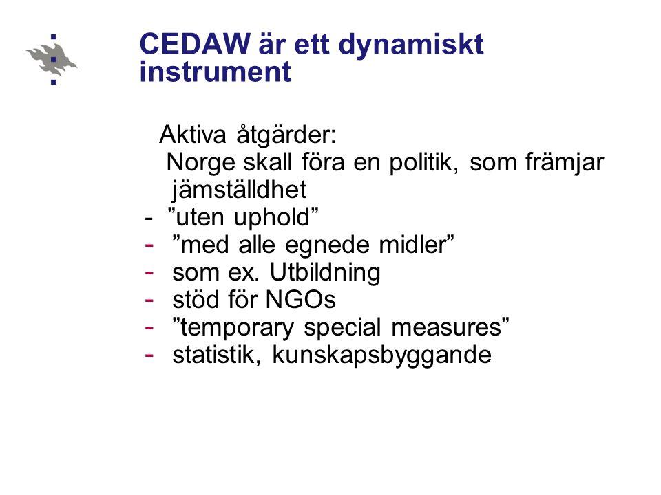 """CEDAW är ett dynamiskt instrument Aktiva åtgärder: Norge skall föra en politik, som främjar jämställdhet - """"uten uphold"""" - """"med alle egnede midler"""" -"""