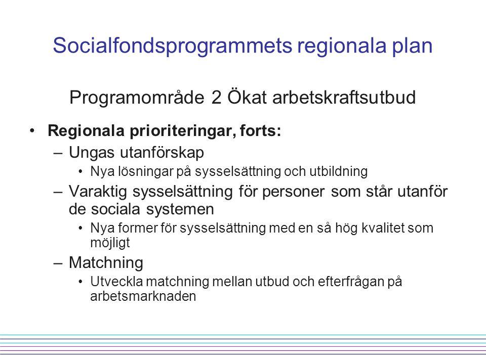 Programområde 2 Ökat arbetskraftsutbud Regionala prioriteringar, forts: –Ungas utanförskap Nya lösningar på sysselsättning och utbildning –Varaktig sysselsättning för personer som står utanför de sociala systemen Nya former för sysselsättning med en så hög kvalitet som möjligt –Matchning Utveckla matchning mellan utbud och efterfrågan på arbetsmarknaden