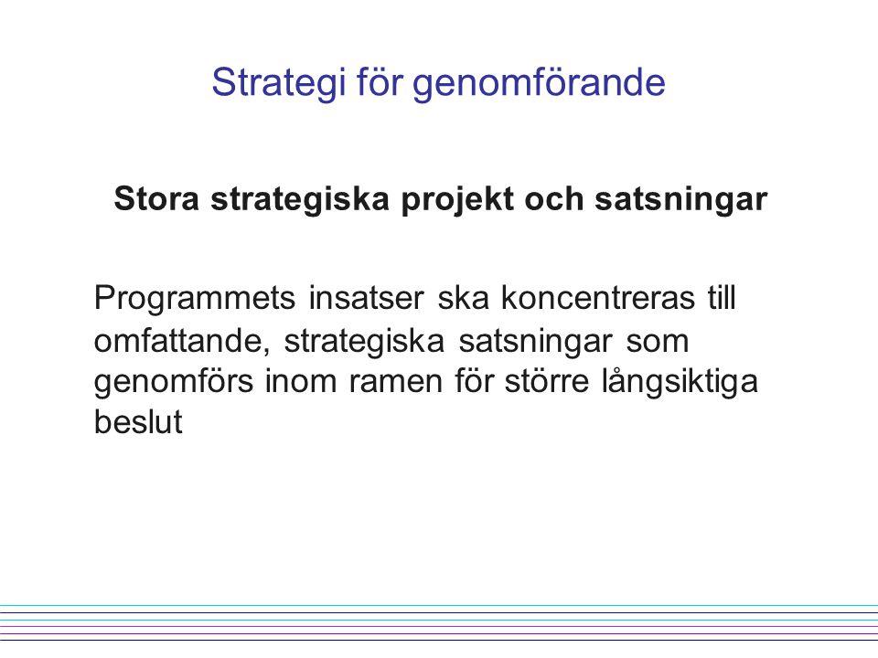 Strategi för genomförande Stora strategiska projekt och satsningar Programmets insatser ska koncentreras till omfattande, strategiska satsningar som genomförs inom ramen för större långsiktiga beslut