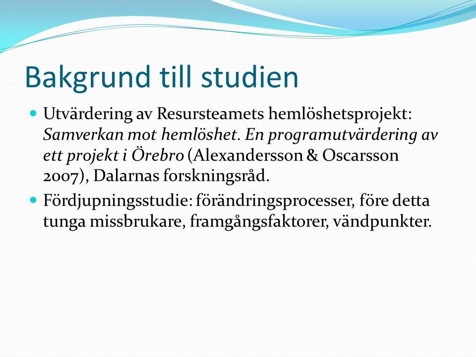 Bakgrund till studien Utvärdering av Resursteamets hemlöshetsprojekt: Samverkan mot hemlöshet. En programutvärdering av ett projekt i Örebro (Alexande