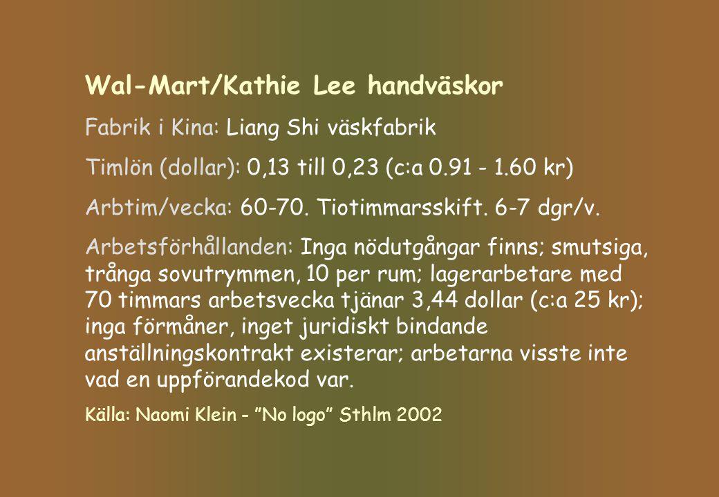 Wal-Mart/Kathie Lee handväskor Fabrik i Kina: Liang Shi väskfabrik Timlön (dollar): 0,13 till 0,23 (c:a 0.91 - 1.60 kr) Arbtim/vecka: 60-70. Tiotimmar