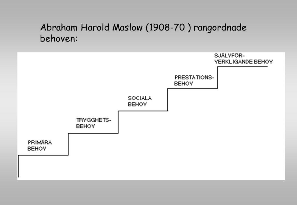 Abraham Harold Maslow (1908-70 ) rangordnade behoven: