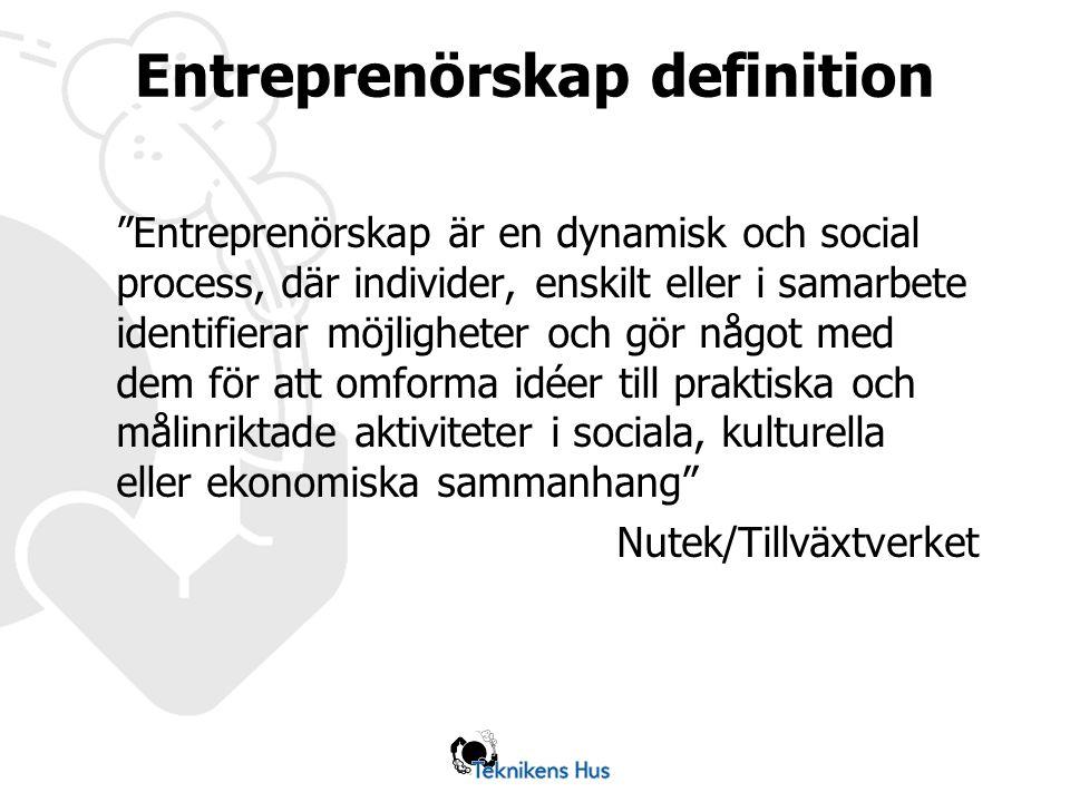 Entreprenörskap definition Entreprenörskap är en dynamisk och social process, där individer, enskilt eller i samarbete identifierar möjligheter och gör något med dem för att omforma idéer till praktiska och målinriktade aktiviteter i sociala, kulturella eller ekonomiska sammanhang Nutek/Tillväxtverket