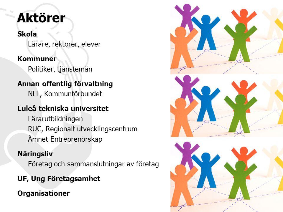 Skola Lärare, rektorer, elever Kommuner Politiker, tjänstemän Annan offentlig förvaltning NLL, Kommunförbundet Luleå tekniska universitet Lärarutbildn