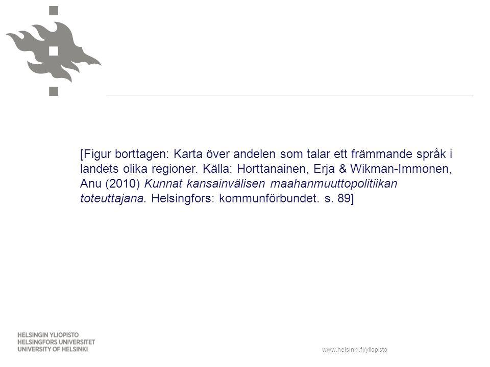 www.helsinki.fi/yliopisto [Figur borttagen: Karta över andelen som talar ett främmande språk i landets olika regioner. Källa: Horttanainen, Erja & Wik
