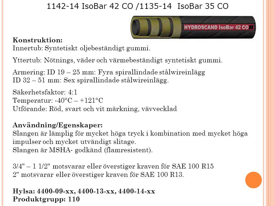 1142-14 IsoBar 42 CO /1135-14 IsoBar 35 CO Konstruktion: Innertub: Syntetiskt oljebeständigt gummi. Yttertub: Nötnings, väder och värmebeständigt synt