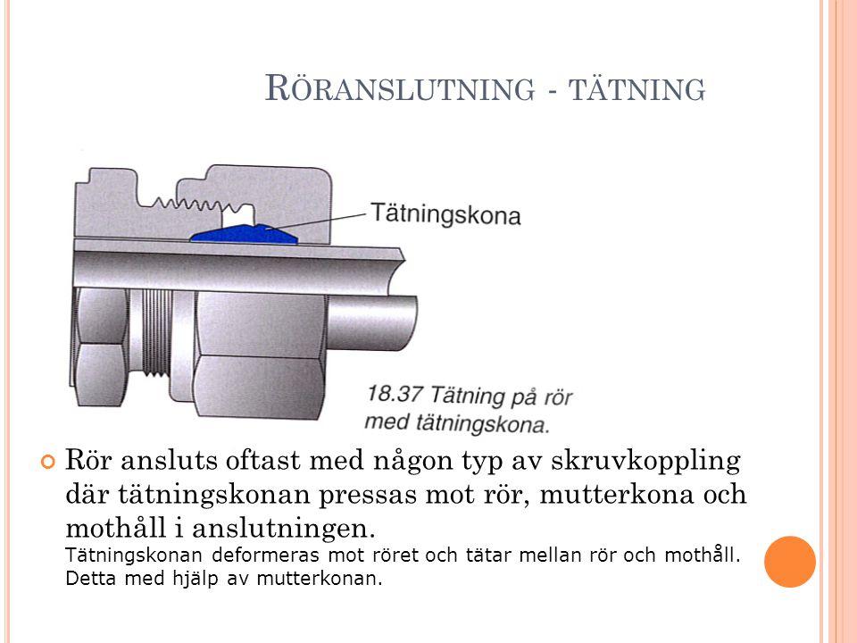 R ÖRANSLUTNING - TÄTNING Rör ansluts oftast med någon typ av skruvkoppling där tätningskonan pressas mot rör, mutterkona och mothåll i anslutningen. T