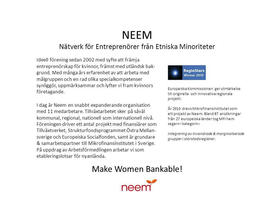 NEEM Nätverk för Entreprenörer från Etniska Minoriteter Neem har bl a tidigare drivit ett projekt som resulterade i Mikrofinansinstitutet i Sverige AB, där blivande entre- prenörer utan tillgång till finansiering har möjlighet att låna mellan 25.000 – 250 000 kr.