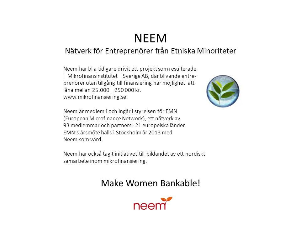 Vision Ett samhälle där alla är delaktiga Integration genom entreprenörskap Neem Just dina livserfarenheter bidrar till ett rikare samhälle Affärsrådgivare Neem