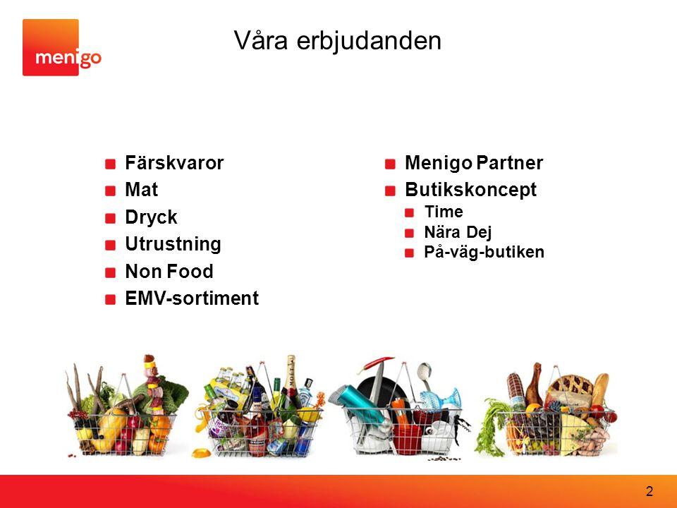 Våra erbjudanden Färskvaror Mat Dryck Utrustning Non Food EMV-sortiment Menigo Partner Butikskoncept Time Nära Dej På-väg-butiken 2