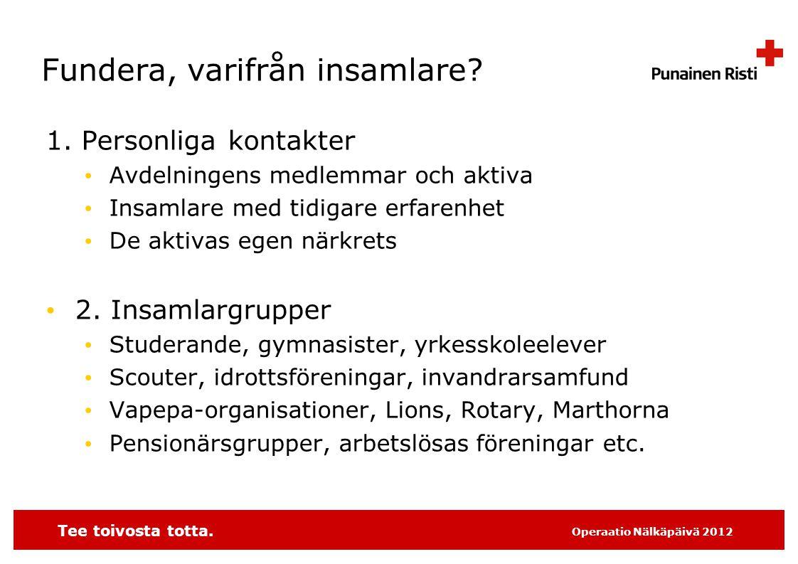Tee toivosta totta. Operaatio Nälkäpäivä 2012 Fundera, varifrån insamlare.