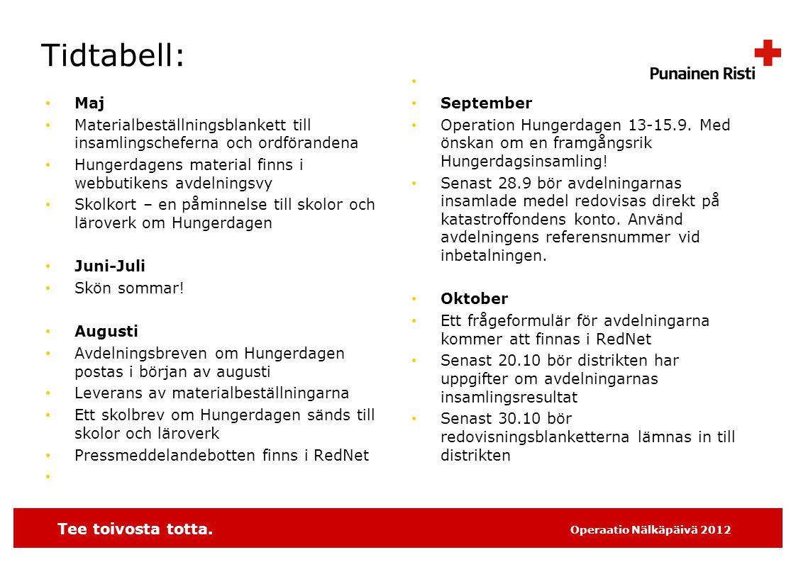 Tee toivosta totta. Operaatio Nälkäpäivä 2012 Tidtabell: • Maj • Materialbeställningsblankett till insamlingscheferna och ordförandena • Hungerdagens