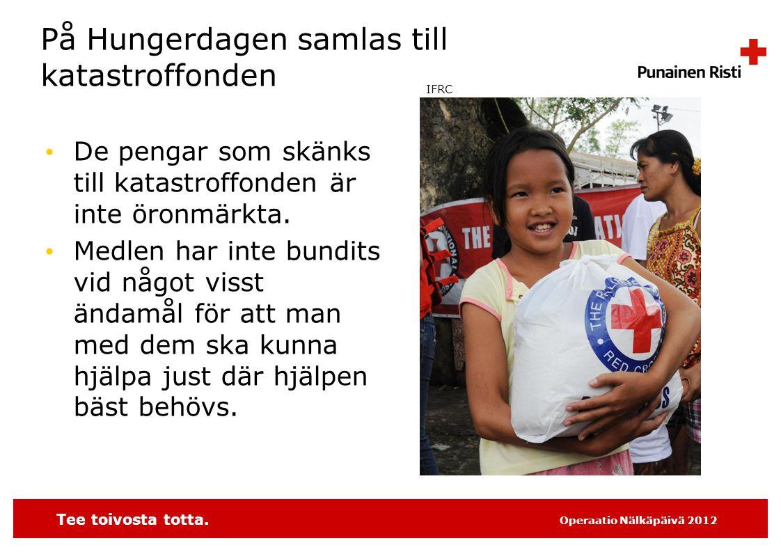 Tee toivosta totta.Operaatio Nälkäpäivä 2012 Fundera, varifrån insamlare.