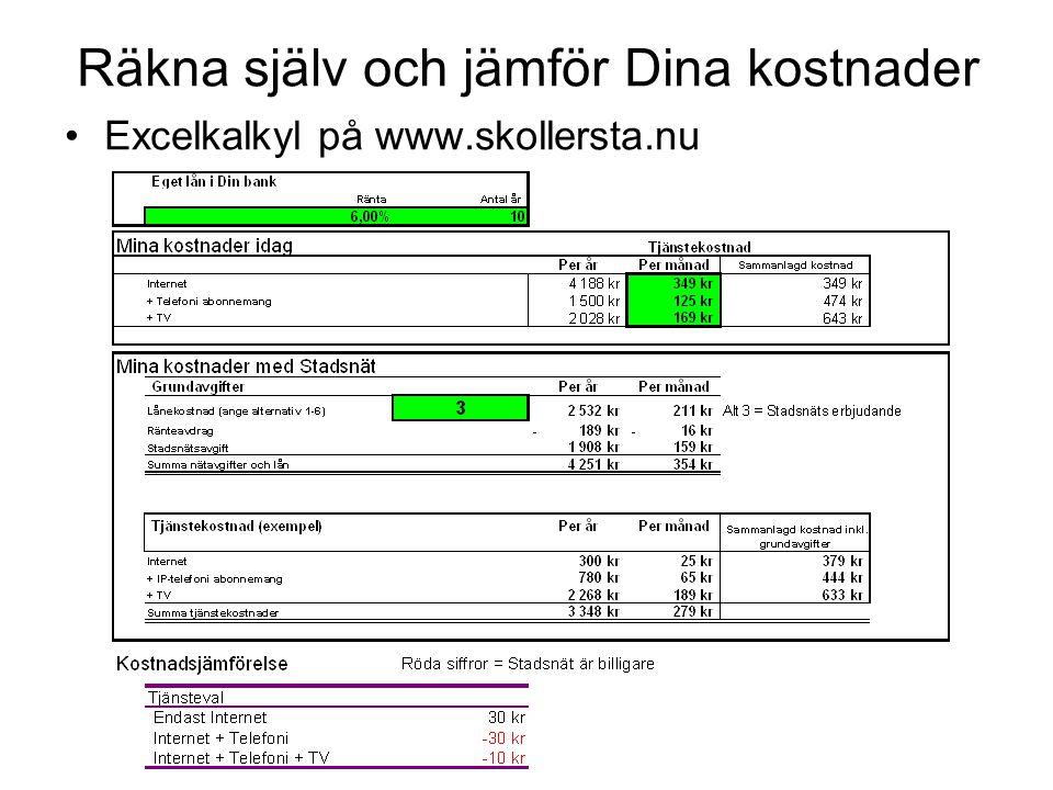 Räkna själv och jämför Dina kostnader •Excelkalkyl på www.skollersta.nu