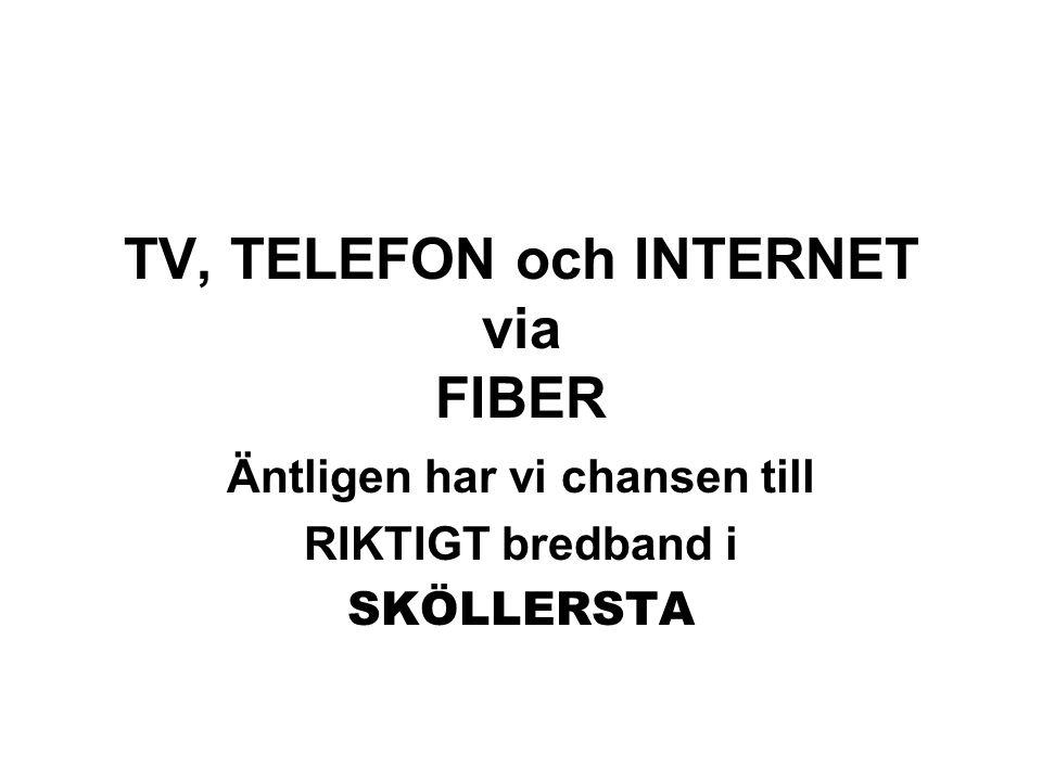 TV, TELEFON och INTERNET via FIBER Äntligen har vi chansen till RIKTIGT bredband i SKÖLLERSTA