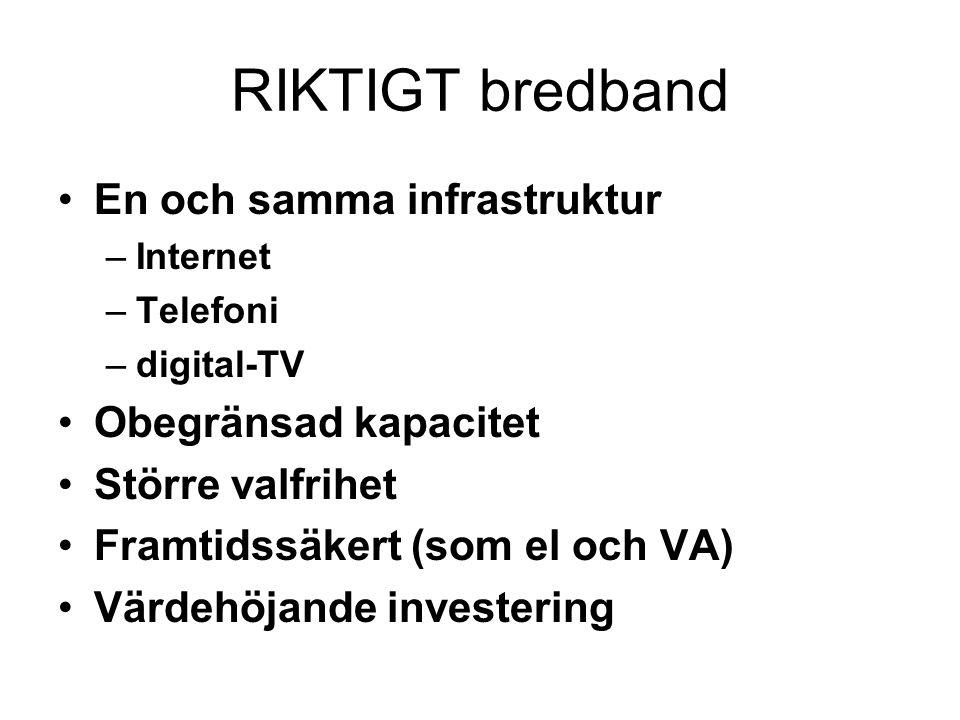 RIKTIGT bredband •En och samma infrastruktur –Internet –Telefoni –digital-TV •Obegränsad kapacitet •Större valfrihet •Framtidssäkert (som el och VA) •