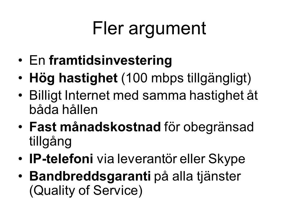 Fler argument •En framtidsinvestering •Hög hastighet (100 mbps tillgängligt) •Billigt Internet med samma hastighet åt båda hållen •Fast månadskostnad