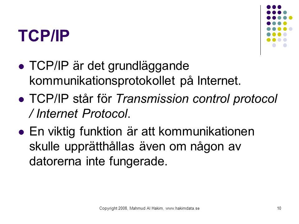 TCP/IP  TCP/IP är det grundläggande kommunikationsprotokollet på Internet.  TCP/IP står för Transmission control protocol / Internet Protocol.  En