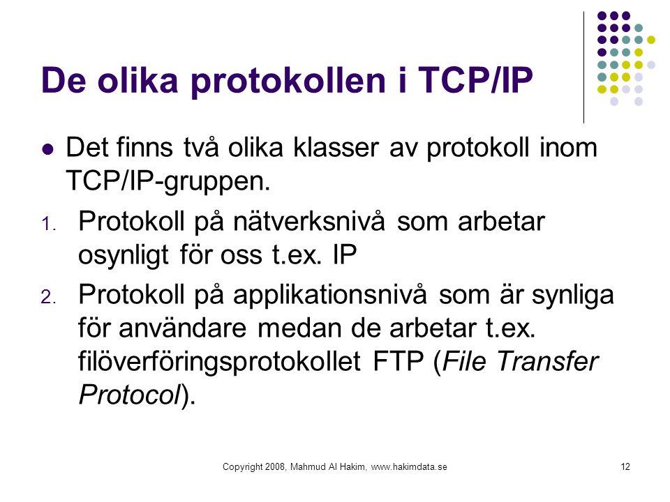De olika protokollen i TCP/IP  Det finns två olika klasser av protokoll inom TCP/IP-gruppen. 1. Protokoll på nätverksnivå som arbetar osynligt för os