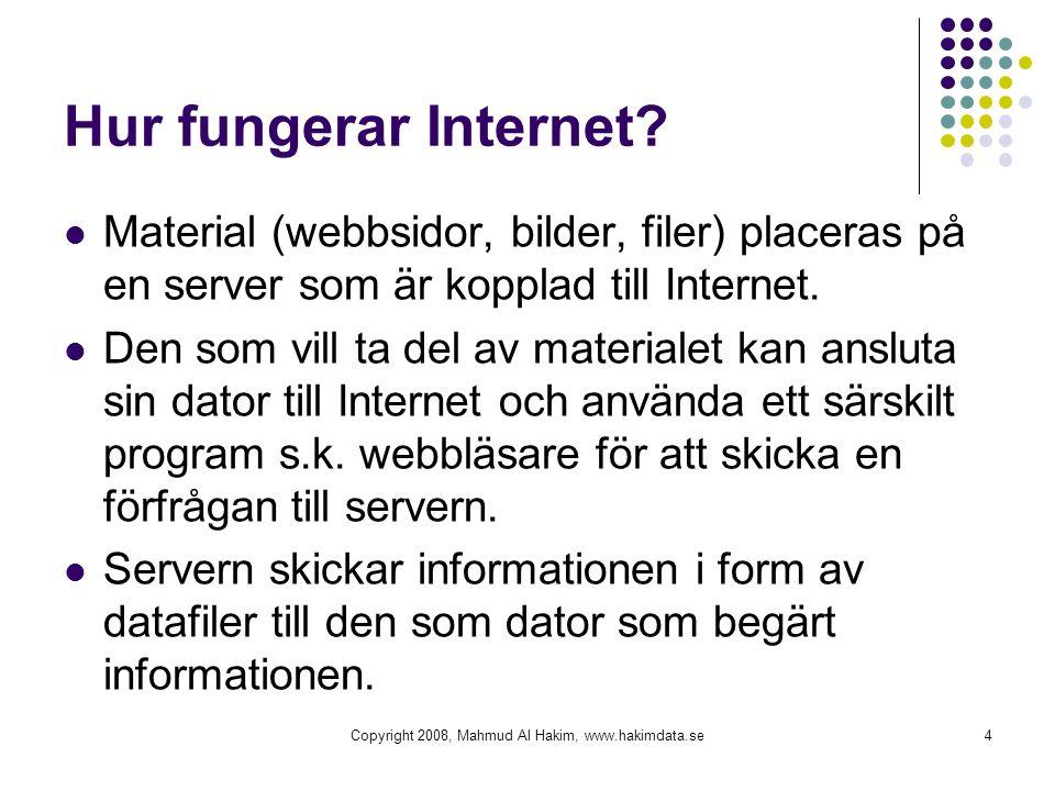 Hur fungerar Internet?  Material (webbsidor, bilder, filer) placeras på en server som är kopplad till Internet.  Den som vill ta del av materialet k