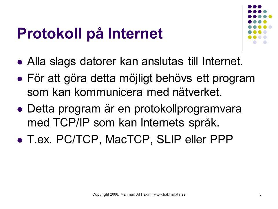 Protokoll på Internet  Alla slags datorer kan anslutas till Internet.  För att göra detta möjligt behövs ett program som kan kommunicera med nätverk