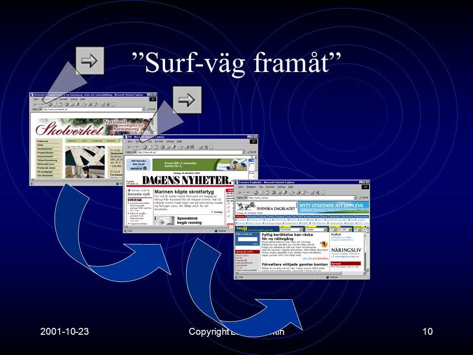 2001-10-23Copyright Lars Valentin10 Surf-väg framåt