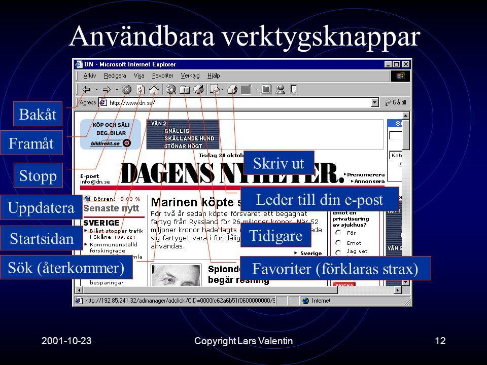 2001-10-23Copyright Lars Valentin12 Användbara verktygsknappar Tidigare Framåt Stopp Uppdatera Startsidan Sök (återkommer) Favoriter (förklaras strax) Bakåt Leder till din e-post Skriv ut
