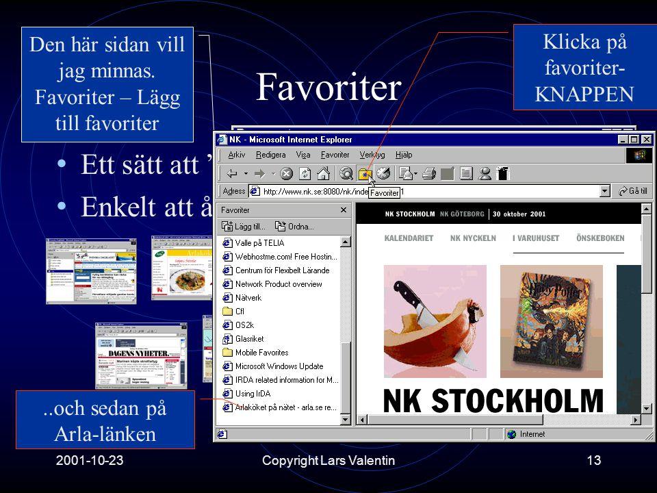 2001-10-23Copyright Lars Valentin13 Favoriter • Ett sätt att bokmärka intressanta platser • Enkelt att återvända till dessa Den här sidan vill jag minnas.