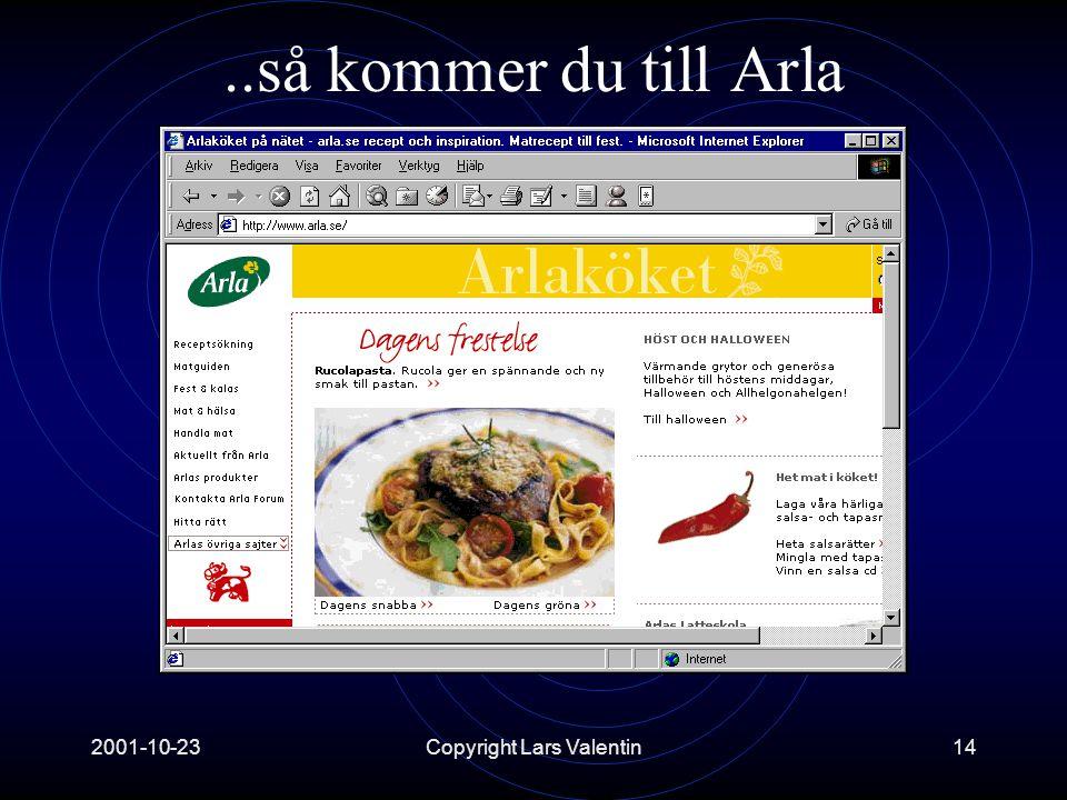2001-10-23Copyright Lars Valentin14..så kommer du till Arla