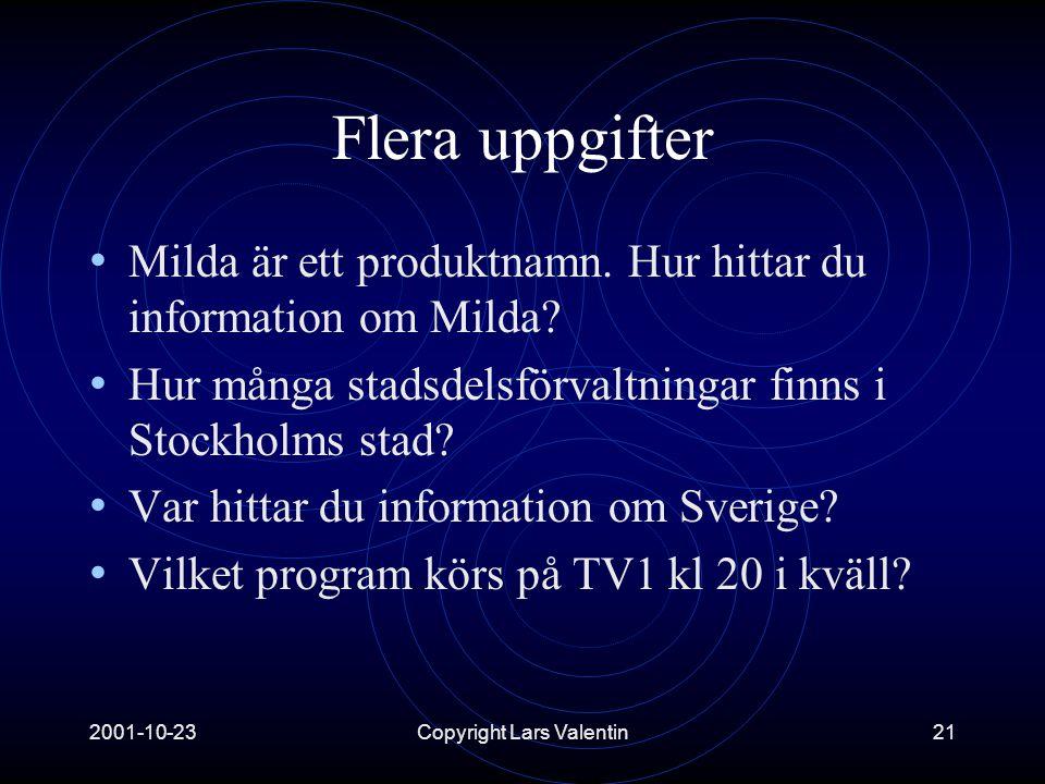 2001-10-23Copyright Lars Valentin21 Flera uppgifter • Milda är ett produktnamn.