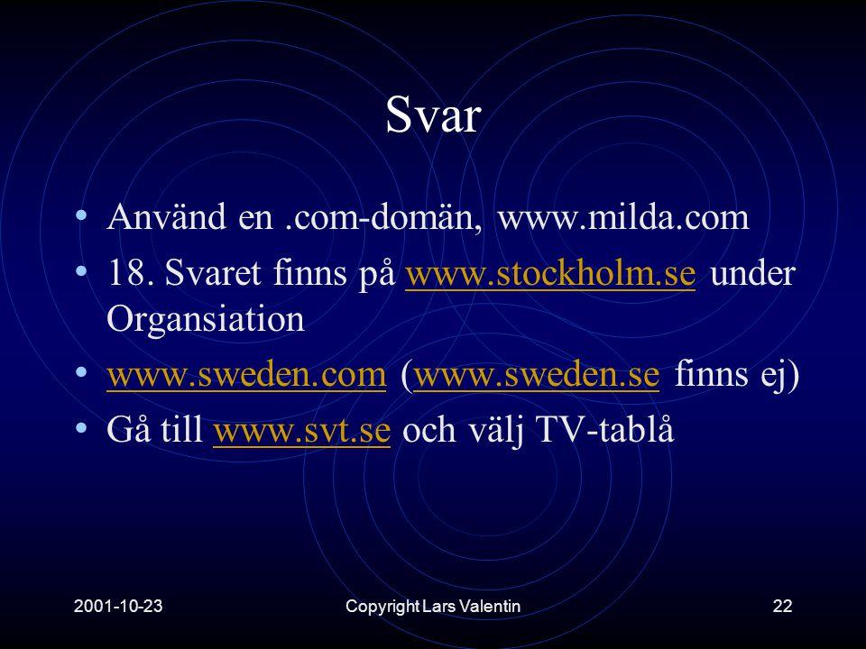 2001-10-23Copyright Lars Valentin22 Svar • Använd en.com-domän, www.milda.com • 18.