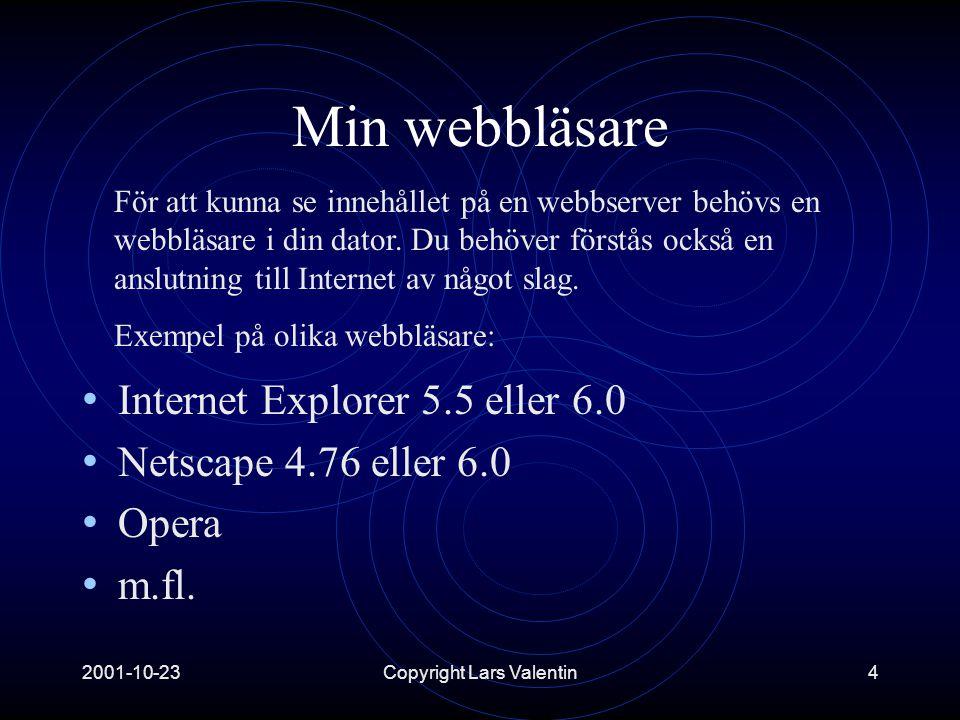 2001-10-23Copyright Lars Valentin5 En närmare titt på Internet Explorer Namnlist Menyrad Verktygsfält Adressfält