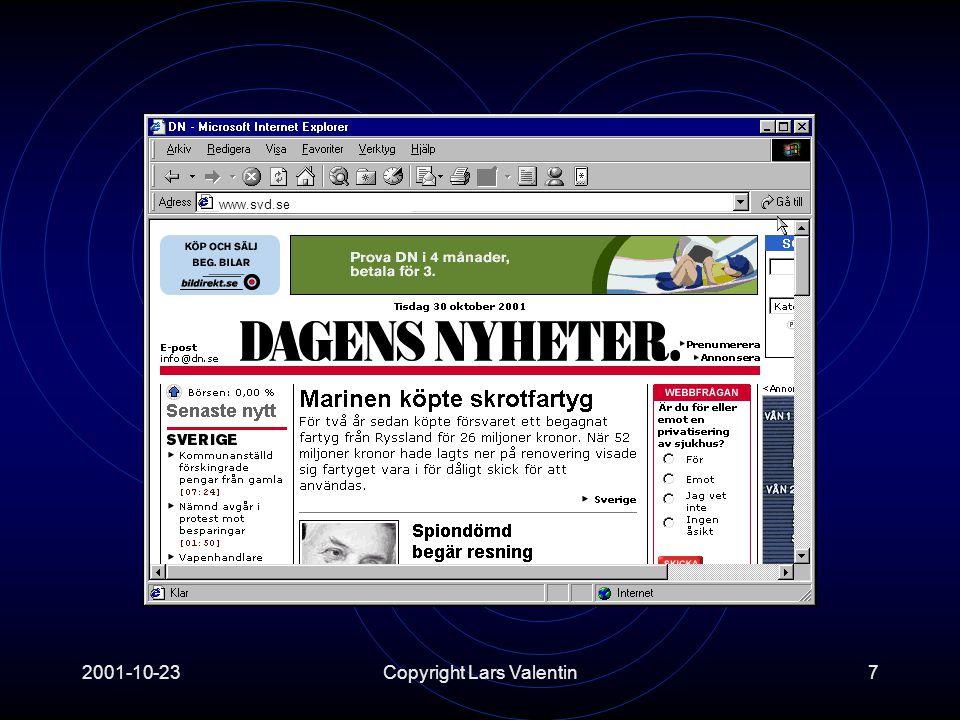 2001-10-23Copyright Lars Valentin18 Hur vet man URL till någon.