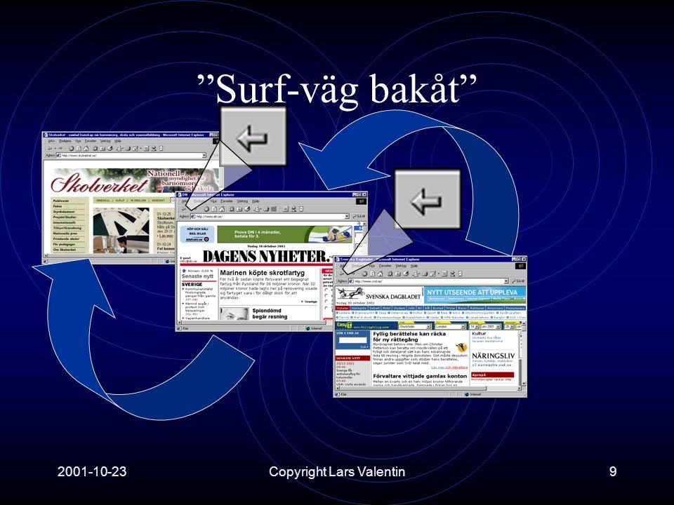 2001-10-23Copyright Lars Valentin9 Surf-väg bakåt