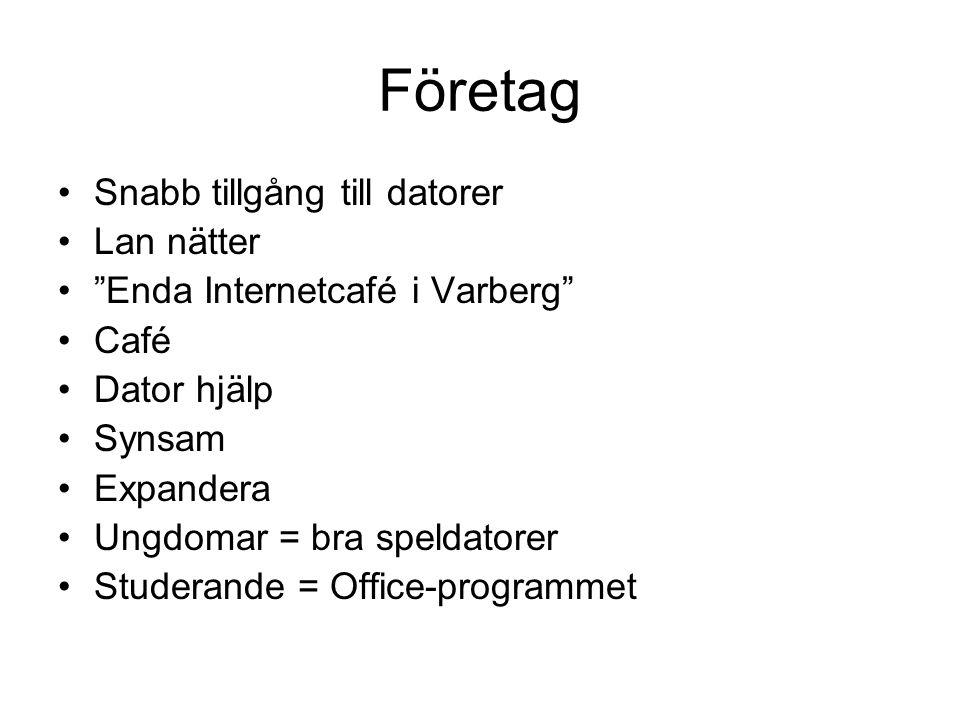 """Företag •Snabb tillgång till datorer •Lan nätter •""""Enda Internetcafé i Varberg"""" •Café •Dator hjälp •Synsam •Expandera •Ungdomar = bra speldatorer •Stu"""