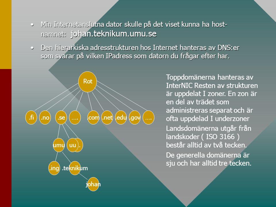 •Min Internetanslutna dator skulle på det viset kunna ha host- namnet: johan.teknikum.umu.se •Den hierarkiska adresstrukturen hos Internet hanteras av