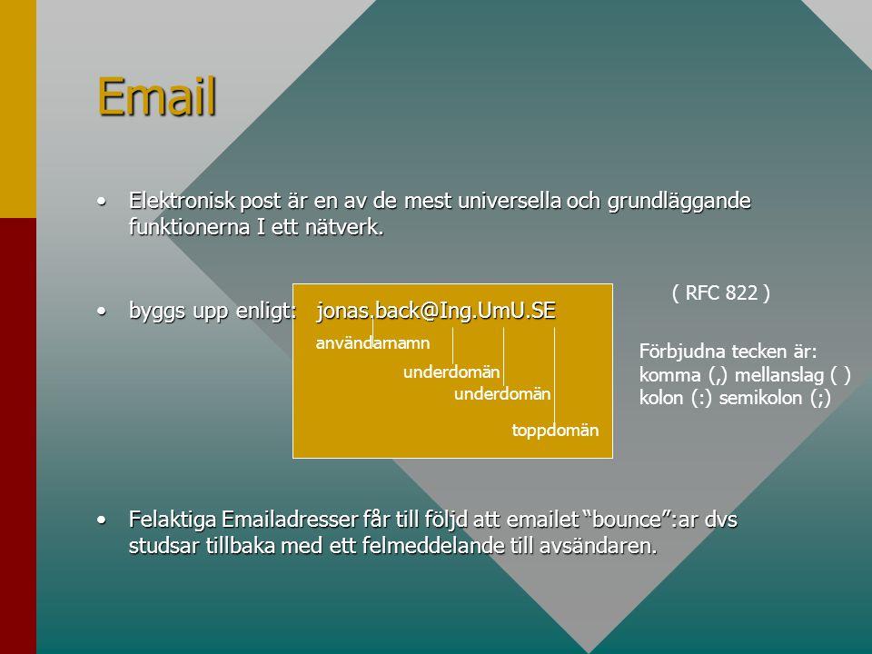 Email •Elektronisk post är en av de mest universella och grundläggande funktionerna I ett nätverk. •byggs upp enligt: jonas.back@Ing.UmU.SE •Felaktiga