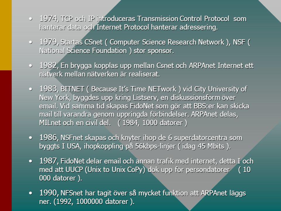 •1974, TCP och IP introduceras Transmission Control Protocol som hanterar data och Internet Protocol hanterar adressering. •1979, Startas CSnet ( Comp