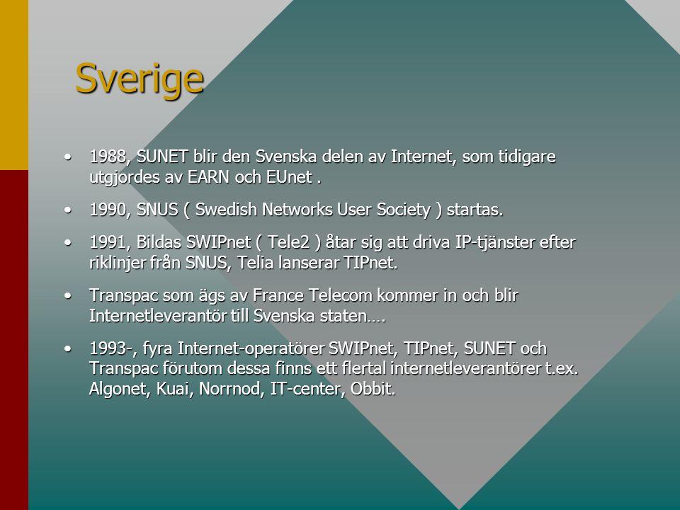 •1988, SUNET blir den Svenska delen av Internet, som tidigare utgjordes av EARN och EUnet. •1990, SNUS ( Swedish Networks User Society ) startas. •199
