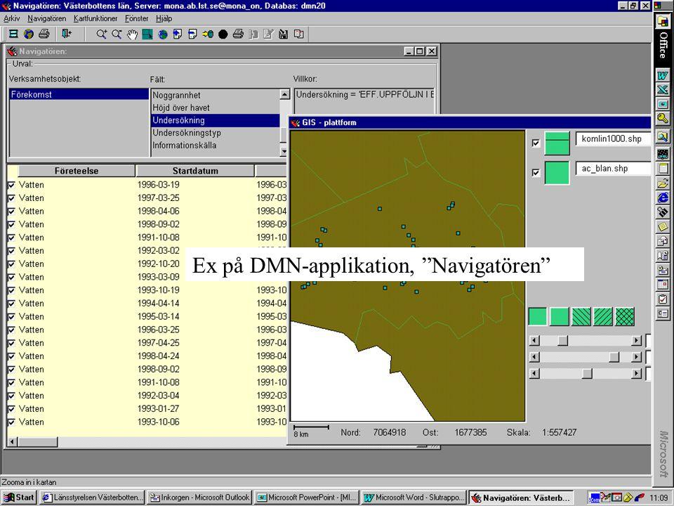 Primära funktioner hos Web-applikationen DMN Titta -Söka Hämta Lagra- Ajourföra