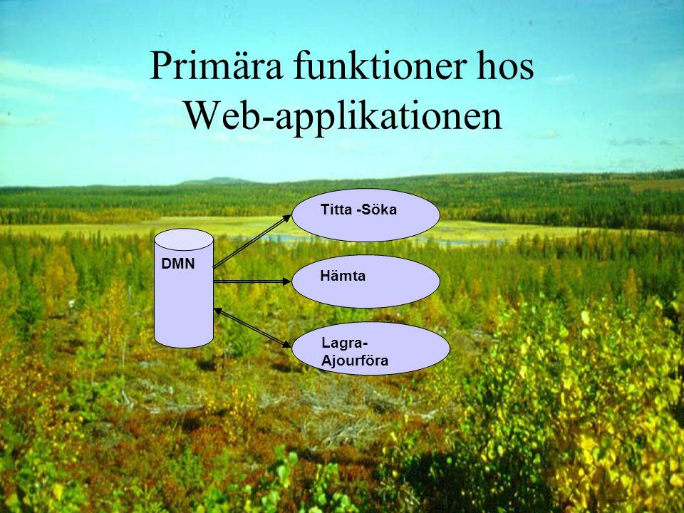 Internet-applikation www-, http-anrop Brand- vägg Veb-server Applikations server Meta- data Geo- data DMN kopia DMNGeo- data System princip