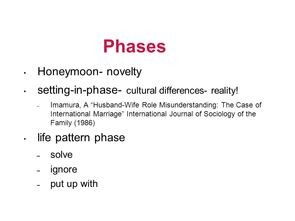 "Phases • Honeymoon- novelty • setting-in-phase- cultural differences- reality! – I mamura, A ""Husband-Wife Role Misunderstanding: The Case of Internat"