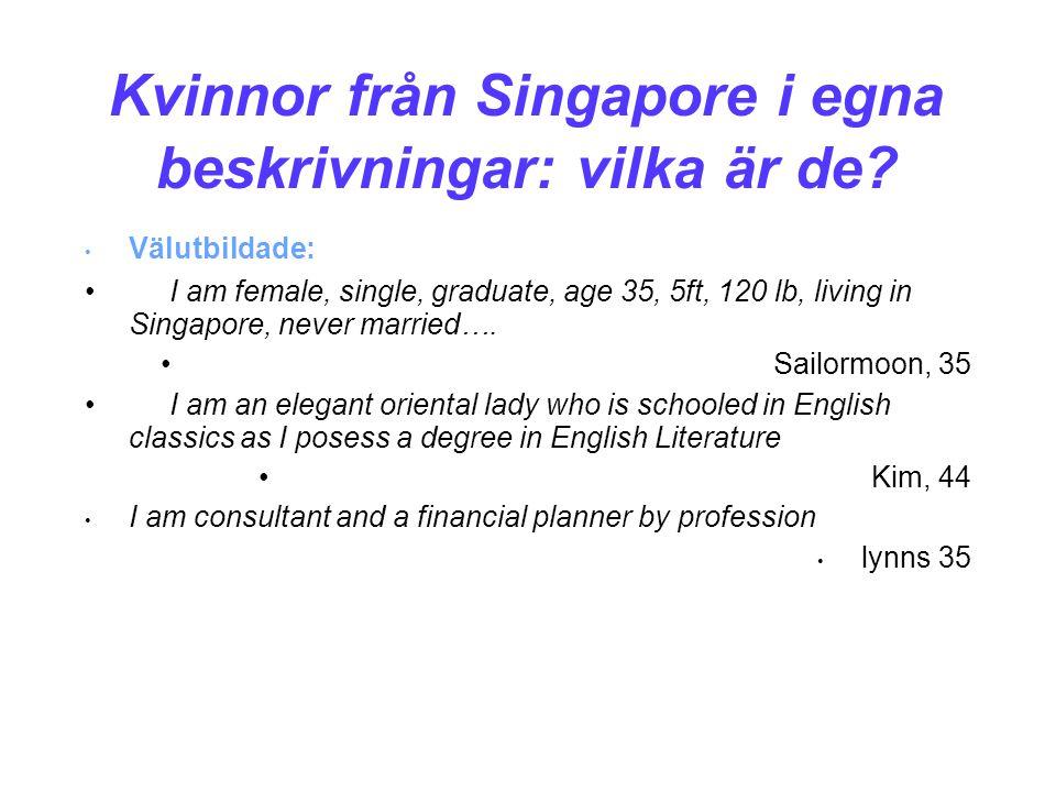 Kvinnor från Singapore i egna beskrivningar: vilka är de.